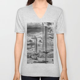 Queensferry Crossing Under Construcion in the Clouds Unisex V-Neck