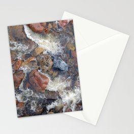 River rocks and rushing water Stationery Cards