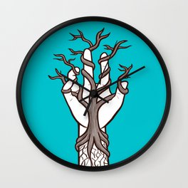 Bare tree growing within a hand – interlacing of nature and humanity Wall Clock