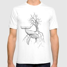 The Land Meets the Sea MEDIUM White Mens Fitted Tee