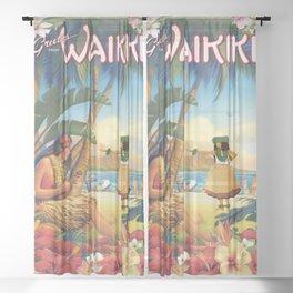 Retro Waikiki Hula Sheer Curtain
