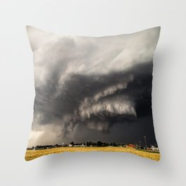 Ominous - Storm Looms Over Small Town In Oklahoma Throw Pillow