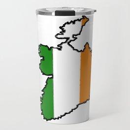 Ireland Map with Irish Flag Travel Mug