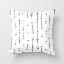 Grey, Steel: Arrows Pattern Throw Pillow