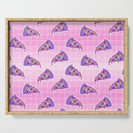 Crazy pizza / Pink Grid Serving Tray