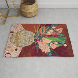 Autumnal Bouquet of Flowers in Woven Basket Vase on Warm Auburn Rust Still Life Fall Floral Painting Rug