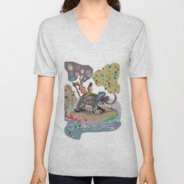 """Elephant Cha Cha"" Paulette Lust's Original, Contemporary, Whimsical, Colorful Art  Unisex V-Neck"