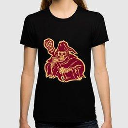 Grim Reaper Lacrosse Defense Pole Retro T-shirt