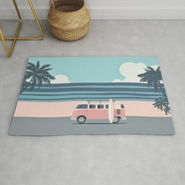 Surfer Graphic Beach Palm-Tree Camper-Van Art Rug