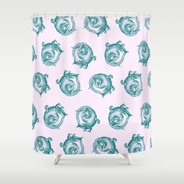 Royal Gator - Ocean on Pink Shower Curtain