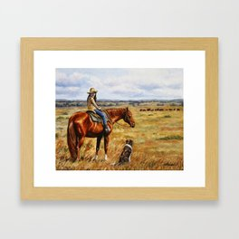 Young Cowgirl on Cattle Horse Framed Art Print