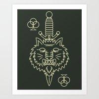 Wolf of Clubs (Green) Art Print