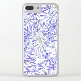 blue purple African lily watercolor painting Clear iPhone Case