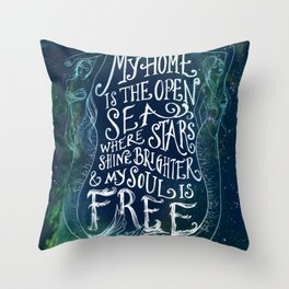 My Home is the Open Sea (Dark Night) Throw Pillow