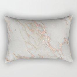 Marble - Rose Gold Marble Metallic Blush Pink Rectangular Pillow