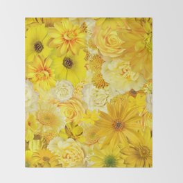 Yellow Rose Bouquet with Gerbera Daisy Flowers Throw Blanket