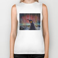 penguin Biker Tanks featuring Aurora Penguin by Michael Creese