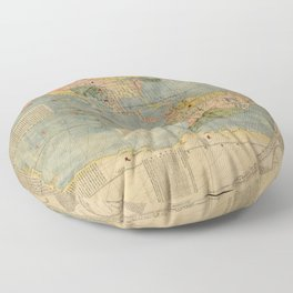 Matteo Ricci - Kunyu Wanguo Quantu / A Map of the Myriad Countries of the World - Americas (1602) Floor Pillow