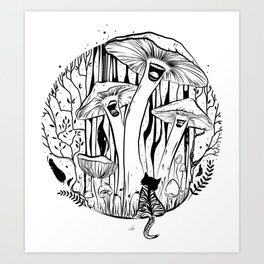 The Singing Mushrooms & The Zebra Cat Art Print