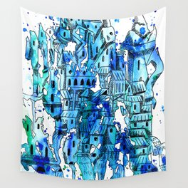 watercolor city Wall Tapestry