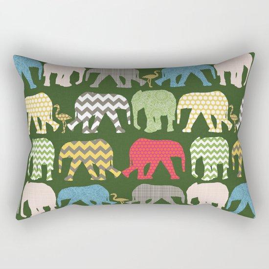 baby elephants and flamingos green Rectangular Pillow