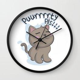 Puurrrrrty Pls!!! (Pet Me Plz!!) Wall Clock