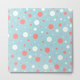 Blue and Coral Dots Metal Print