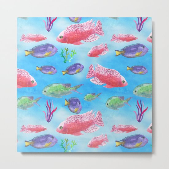 The deep sea-fishes in the sea- watercolor illustration Metal Print