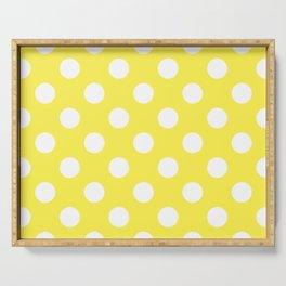 Lemon yellow - yellow - White Polka Dots - Pois Pattern Serving Tray