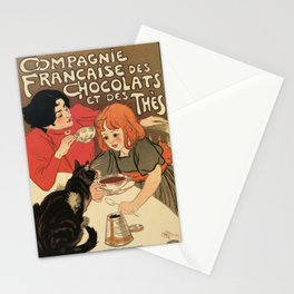 Vintage French tea and hot cocoa advertising Stationery Cards