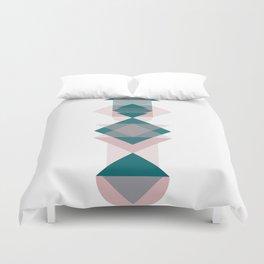 Nr. 1 Geometric Totem Pole Blush Pink and Green Duvet Cover