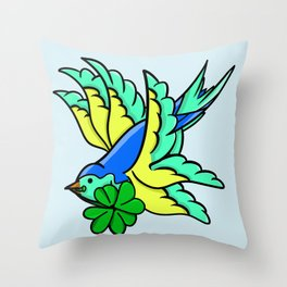 Swallow With Lucky Four Leaf Clover Throw Pillow