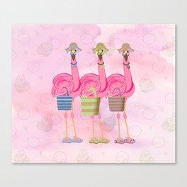 Flamingo Friends Shopping Canvas Print
