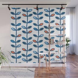 Retro Mid Century Modern Leaf Pattern in Classic Blues and Muted Orange Wall Mural