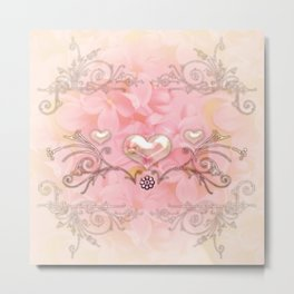 Wonderful hearts with flowers Metal Print