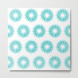 Turquoise Modern Sunbursts Metal Print