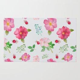 Rosehip Spring Garden Floral Pattern Rug