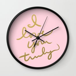 I Love You Truly (pink) Wall Clock