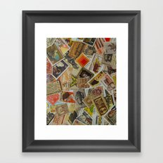 Vintage Postage Stamp Collection - Orange Framed Art Print