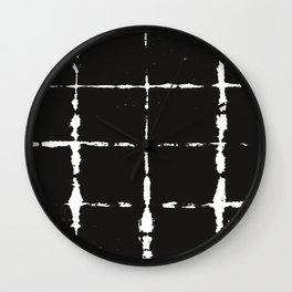 Black Ink Shibori Tie Dye Wall Clock