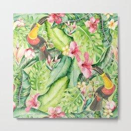 Tropical Bird Garden Metal Print