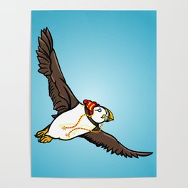 Puffin Wearing A Hat Poster