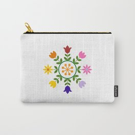 Scandinavian Style Colorful Flowers Wheel Carry-All Pouch