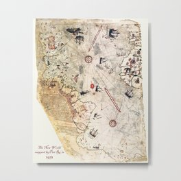 Ancient Map of The New World from Pira Re'is 1513 map Metal Print