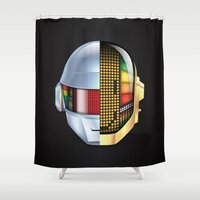 daft punk Shower Curtains featuring Daft Punk - Discovery by Hayes Johnson