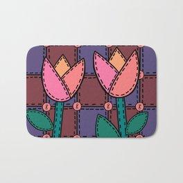 Retro Doodle Tulip Quilt - Burgundy Purple Pink Bath Mat