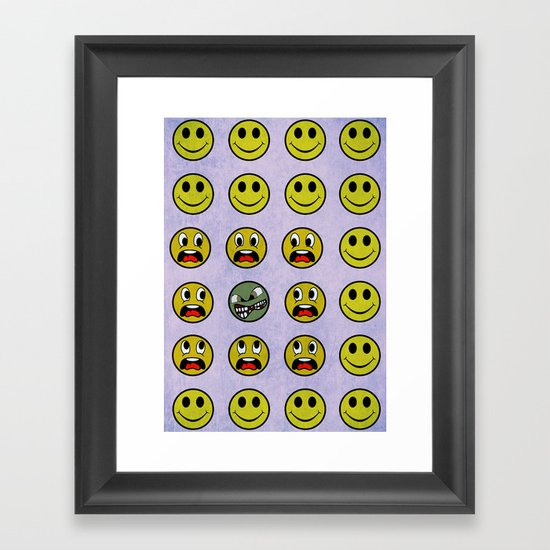Attack of the Zombie smiley! Framed Art Print