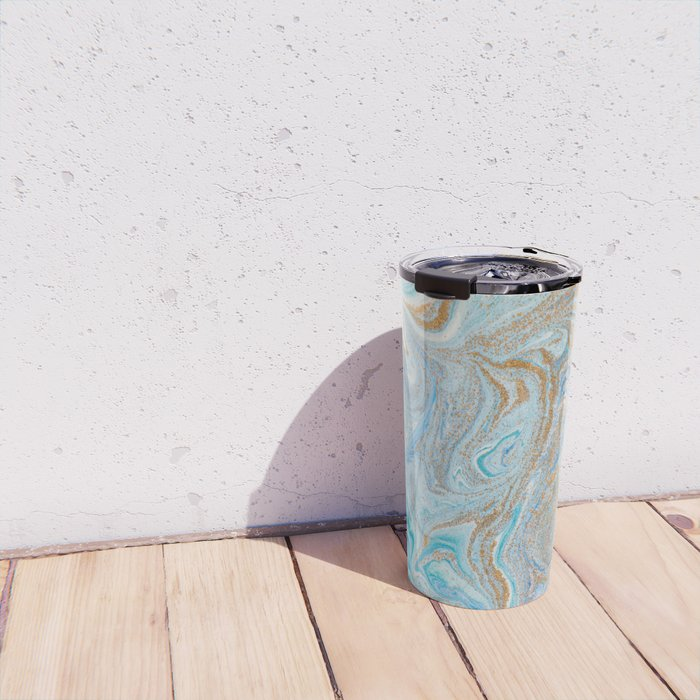 Marble turquoise gold silver Travel Mug