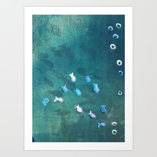 Life is one big sea of goldfish and cheerios Art Print