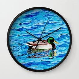 Mallard on Water Wall Clock